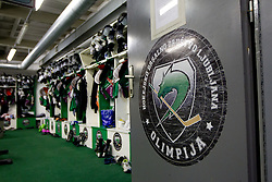 Locker room during ice-hockey match between HDD Tilia Olimpija and EHC Liwest Black Wings Linz at second match in Semifinal  of EBEL league, on March 8, 2012 at Hala Tivoli, Ljubljana, Slovenia. (Photo By Matic Klansek Velej / Sportida)