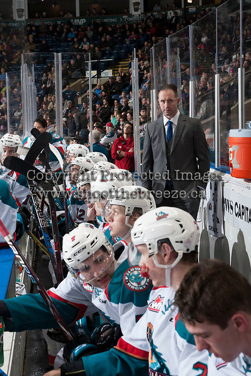 KELOWNA, CANADA - FEBRUARY 24: Kelowna Rockets' head coach Jason Smith stands on the bench during second period against the Kamloops Blazers  on February 24, 2018 at Prospera Place in Kelowna, British Columbia, Canada.  (Photo by Marissa Baecker/Shoot the Breeze)  *** Local Caption ***