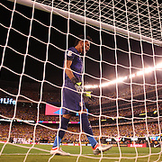 EAST RUTHERFORD, NEW JERSEY - JUNE 17: Pedro Gallese #1 of Peru reacts to not saving a penalty kick in the penalty shoot out won by Colombia during the Colombia Vs Peru Quarterfinal match of the Copa America Centenario USA 2016 Tournament at MetLife Stadium on June 17, 2016 in East Rutherford, New Jersey. (Photo by Tim Clayton/Corbis via Getty Images)