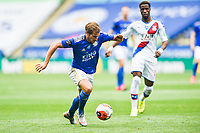 LEICESTER, ENGLAND - JULY 04: Marc Albrighton of Leicester City pushes forward ahead of Wilfried Zaha of Crystal Palace during the Premier League match between Leicester City and Crystal Palace at The King Power Stadium on July 4, 2020 in Leicester, United Kingdom. Football Stadiums around Europe remain empty due to the Coronavirus Pandemic as Government social distancing laws prohibit fans inside venues resulting in all fixtures being played behind closed doors. (Photo by MB Media)