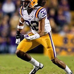 November 17, 2012; Baton Rouge, LA, USA  LSU Tigers cornerback Jalen Collins (32) against the Ole Miss Rebels during a game at Tiger Stadium. LSU defeated Ole Miss 41-35. Mandatory Credit: Derick E. Hingle-US PRESSWIRE