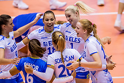 23-08-2017 NED: World Qualifications Greece - Slovenia, Rotterdam<br /> Sloveni&euml; wint met 3-0 / Vreugde bij Sloevenjie Sasa Planinsec #18 of Slovenia, Eva Mori #1 of Slovenia