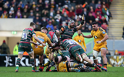 Wasps defending a Leicester Tigers attack - Mandatory by-line: Arron Gent/JMP - 15/02/2020 - RUGBY - Welford Road Stadium - Leicester, England - Leicester Tigers v Wasps - Gallagher Premiership Rugby