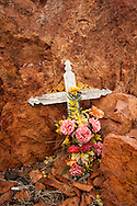 Roadside memorial, Highway 44, Quartz Mountain State Park, north of Altus, Wichita Mountains
