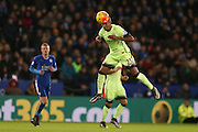Manchester City midfielder Fernandinho  heads the ball away during the Barclays Premier League match between Leicester City and Manchester City at the King Power Stadium, Leicester, England on 29 December 2015. Photo by Simon Davies.