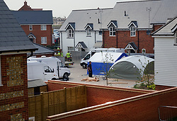 © Licensed to London News Pictures. 04/07/2018. Amesbury, UK. Police tents and other equipment are being installed at a property where a couple, named locally as Dawn Sturgess, 44, and her partner Charlie Rowley, 45, were taken ill on Saturday 30th June 2018. Police have confirmed that the couple have been in contact with Novichok nerve agent. Former Russian spy Sergei Skripal and his daughter Yulia were poisoned with Novichok nerve agent in nearby Salisbury in March 2018.Photo credit: Peter Macdiarmid/LNP