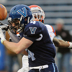 TOM KELLY IV &mdash; DAILY TIMES<br /> A pass meant for Villanova's Kevin Gulyas (4) is broken up by SHS's Trenier Orr (7) during the Sam Houston State University at Villanova University NCAA FCS Division 1 - AA quarterfinal game at Villanova Stadium.