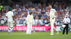 England's Stuart Broad celebrates after taking the wicket of Pakistan's Hasan Ali during day three of the Second NatWest Test match at Headingley, Leeds.
