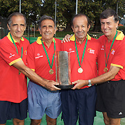 Von Cramm Cup Winners Spain, left to right, Jorge Camina Borda, Luis Flor de la Morena, Jairo Velasco Ramirez, Jose Gurich-Gonzalez during the 2009 ITF Super-Seniors World Team and Individual Championships at Perth, Western Australia, between 2-15th November, 2009.