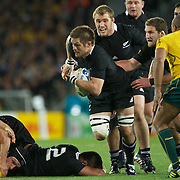 New Zealand Captain Richie McCaw, in action during the New Zealand V Australia Semi Final match at the IRB Rugby World Cup tournament, Eden Park, Auckland, New Zealand, 16th October 2011. Photo Tim Clayton...
