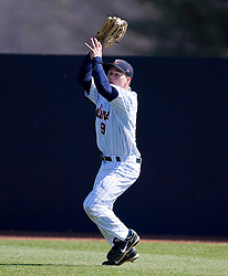 Virginia Cavaliers OF David Coleman (9) makes a catch in right field.  The #16 ranked Virginia Cavaliers baseball team defeated the Cornell Big Red 12-2 at the University of Virginia's Davenport Field in Charlottesville, VA on March 1, 2008.
