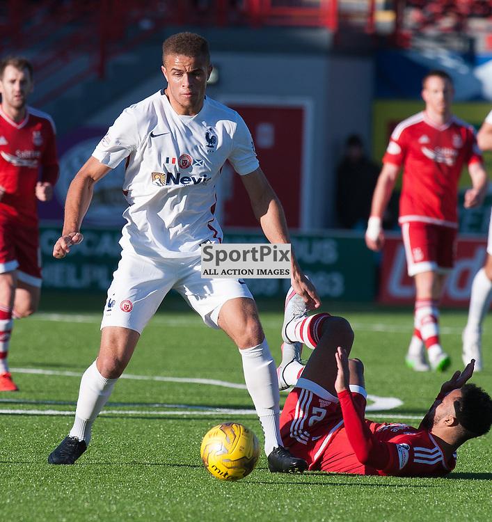 #14 Carlton Morris (Hamilton Academical) wins a midfield challenge<br /> <br /> SPFL Premiership<br /> Hamilton Academical v Aberdeen<br /> New Douglas Park, Hamilton<br /> Sunday 22 November 2015<br /> <br /> &copy; Russel Hutcheson | SportPix 2015