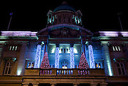 19 November 2013: Christmas lights, Hull, East Yorkshire.<br /> City Hall.<br /> Picture: Sean Spencer/Hull News &amp; Pictures Ltd<br /> 01482 772651/07976 433960<br /> www.hullnews.co.uk   sean@hullnews.co.uk