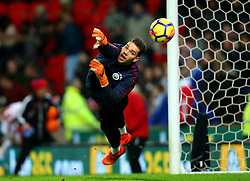 Ederson of Manchester City during the warm up - Mandatory by-line: Robbie Stephenson/JMP - 12/03/2018 - FOOTBALL - Bet365 Stadium - Stoke-on-Trent, England - Stoke City v Manchester City - Premier League