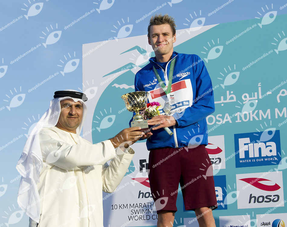 Arif Awani Abu Dhabi Sports Council (L) ; BURNELL Jack GBR<br /> 10 Km FINA/HOSA Marathon Swimming World Cup<br /> Abu Dhabi Sailing and Yacht club<br /> Abu Dhabi U.A.E. 11 - 13 march 2015<br /> Day 3 - March 13 th <br /> Photo Giorgio Scala / Deepbluemedia
