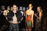 Lisa Maree Show, Australian Fashion Week, Sydney. .Models getting ready backstage for Lisa Maree show.