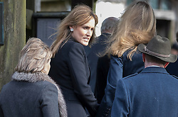 © Licensed to London News Pictures. 27/02/2017. Dummer, UK. Santa Montefiore (2L), sister of Tara Palmer Tomkinson, arrives at  All Saints' Church in Dummer, Hampshire for a memorial service. Tara, 45, was found dead in her home in south west London on February 8. Her older sister said that 'Tara Clare died peacefully in her sleep on February 8th 2017. Photo credit: Peter Macdiarmid/LNP<br /> **There are IPSO guidelines on the reporting of the memorial service of Tara Palmer Tomkinson**