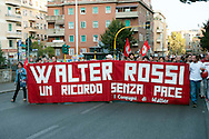 Roma 30  Settembre 2010.Manifestazione in ricordo di Walter Rossi, militante di Lotta Continua ucciso dai fascisti il 30 Settembre 1977.Rome September 30, 2010.Manifestation in memory of Walter Rossi, killed by the fascists the September 30, 1977
