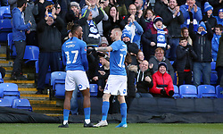 Ivan Toney of Peterborough United celebrates scoring his goal with team-mate Marcus Maddison - Mandatory by-line: Joe Dent/JMP - 01/12/2019 - FOOTBALL - Weston Homes Stadium - Peterborough, England - Peterborough United v Dover Athletic - Emirates FA Cup second round