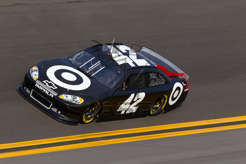 12 January, 2012:   Juan Pablo Montoya (42)  brings his Target Chevrolet down the front stretch during open testing for the NASCAR Sprint Cup Series at the Daytona International Speedway in Daytona Beach, FL.