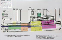 "© Licensed to London News Pictures. 04/05/2016. Birkenhead UK. Collect picture shows the technical drawings for the Daniel Adamson (Ralph Brocklebank) 1936-1984 after it's 1936 refit. The Daniel Adamson steam boat has been bought back to operational service after a £5M restoration. The coal fired steam tug is the last surviving steam powered tug built on the Mersey and is believed to be the oldest operational Mersey built ship in the world. The ""Danny"" (originally named the Ralph Brocklebank) was built at Camel Laird ship yard in Birkenhead & launched in 1903. She worked the canal's & carried passengers across the Mersey & during WW1 had a stint working for the Royal Navy in Liverpool. The ""Danny"" was refitted in the 30's in an art deco style. Withdrawn from service in 1984 by 2014 she was due for scrapping until Mersey tug skipper Dan Cross bought her for £1 and the campaign to save her was underway. Photo credit: Andrew McCaren/LNP ** More information available here http://tinyurl.com/jsucxaq **"