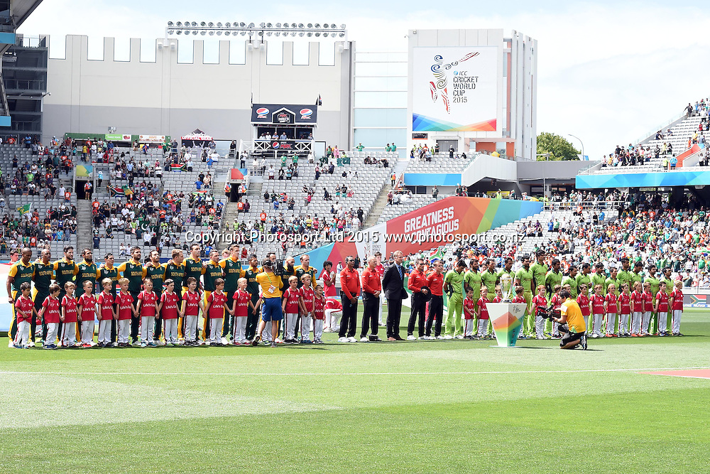 Teams signing their national anthem during the ICC Cricket World Cup match between Pakistan and South Africa at Eden Park in Auckland, New Zealand. Saturday 07 March 2015. Copyright Photo: Raghavan Venugopal / www.photosport.co.nz