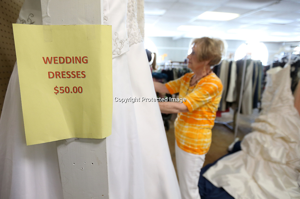 The Sanctuary Village Shoppe, the thrift store that benefits the Sanctuary Hospice House gets a surprising number of wedding dresses which they sell for $50.00.