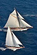"France Saint - Tropez October 2013, Classic yachts racing at the Voiles de Saint - Tropez<br /> <br /> C,C1,MARIQUITA,""33,7"",19M JI AURIQUE/1911,WILLIAM FIFE<br /> <br /> C,K4,CAMBRIA,40,23 MJI BERMUDIEN/1928,WILLIAM FIFE"