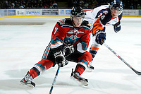 KELOWNA, CANADA, OCTOBER 29: Damon Severson #7 of the Kelowna Rockets skates with the puck as the Kamloops Blazers visit the Kelowna Rockets  on October 29, 2011 at Prospera Place in Kelowna, British Columbia, Canada (Photo by Marissa Baecker/Shoot the Breeze) *** Local Caption *** Damon Severson;