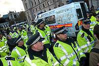 Police van was vandalised when it was left in middle of kettled students who were protesting against increase in tuition fees. Whitehall  London 24.11.10