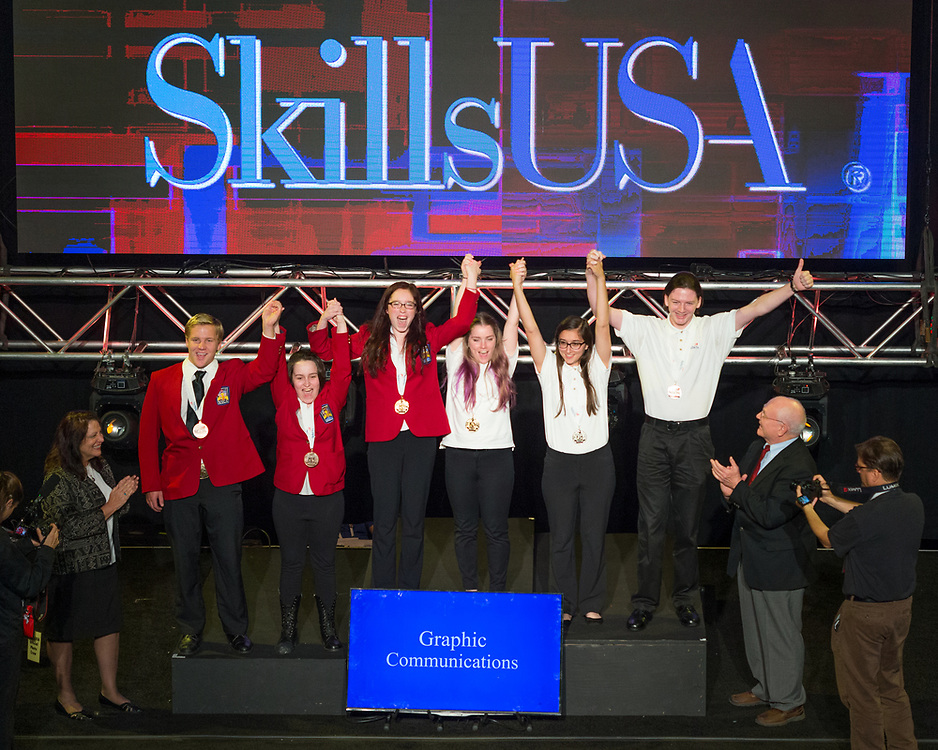 The 2017 SkillsUSA National Leadership and Skills Conference Competition Medalists were announced Friday, June 23, 2017 at Freedom Hall in Louisville. <br /> <br /> Graphic Communications<br /> <br /> Haylee Cooper<br />   High School Diman RVTHS<br />   Gold Fall River, MA<br /> Graphic CommunicationsCody Brown<br />   High School R W Johnson High School<br />   Silver Gainesville, GA<br /> Graphic CommunicationsLexi Hengeveld<br />   High School Carroll County Career &amp; Tech Center<br />   Bronze Westminster, MD<br /> Graphic CommunicationsBrittany Whitestone<br />   College Carroll County Career &amp; Tech Center<br />   Gold Westminster, MD<br /> Graphic CommunicationsCheyanne Kasmierski<br />   College Thaddeus Stevens College of Tech<br />   Silver Lancaster, PA<br /> Graphic CommunicationsDaniel Long<br />   College Riverside Community College<br />   Bronze Riverside, CA