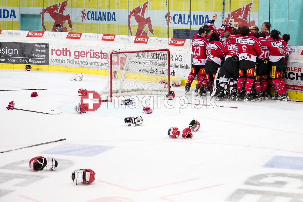 Rapperswil-Jona Lakers players celebrate their Swiss Champion title after winning the fifth Elite B Playoff Final ice hockey game between Rapperswil-Jona Lakers and ZSC Lions held at the SGKB Arena in Rapperswil, Switzerland, Sunday, Mar. 19, 2017. (Photo by Patrick B. Kraemer / MAGICPBK)