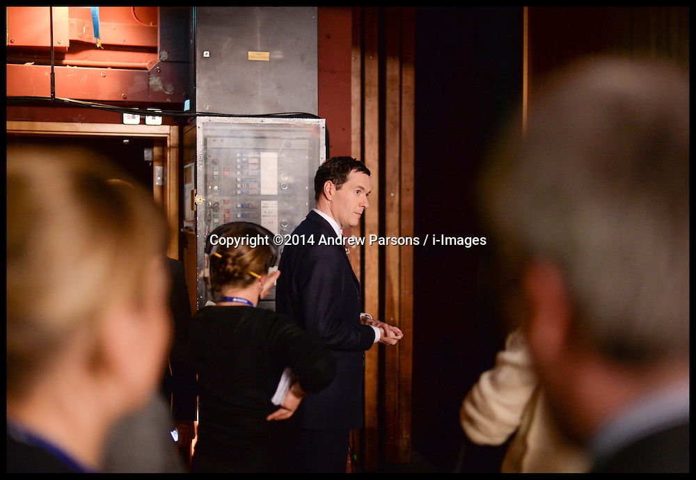 Image ©Licensed to i-Images Picture Agency. 28/09/2014. Birmingham, United Kingdom.  George Osborne  backstage before introducing William Hague onto the stage to give his last conference speech on  Day one of the  Conservative Party Conference.Picture by Andrew Parsons / i-Images