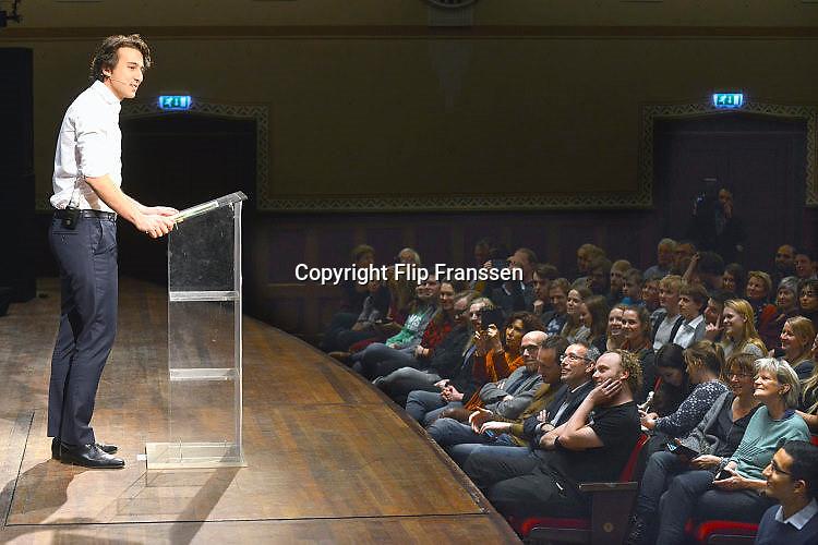 Nederland, Nijmegen, 13-1-2017 Jesse Klaver, lijsttrekker van Groen Links,spreekt voor een volle Vereeniging. Foto: Flip Franssen