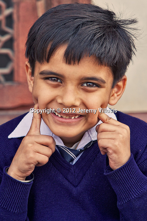 Portrait of a school boy in Humayun's Tomb