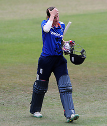 Dejection for England's Lydia Greenway after being dismissed. - Photo mandatory by-line: Harry Trump/JMP - Mobile: 07966 386802 - 21/07/15 - SPORT - CRICKET - Women's Ashes - Royal London ODI - England Women v Australia Women - The County Ground, Taunton, England.