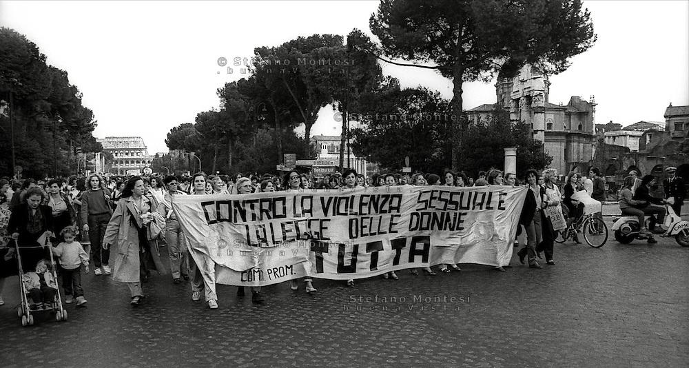 Roma 1985.Il movimento femminista manifesta contro la violenza sessuale