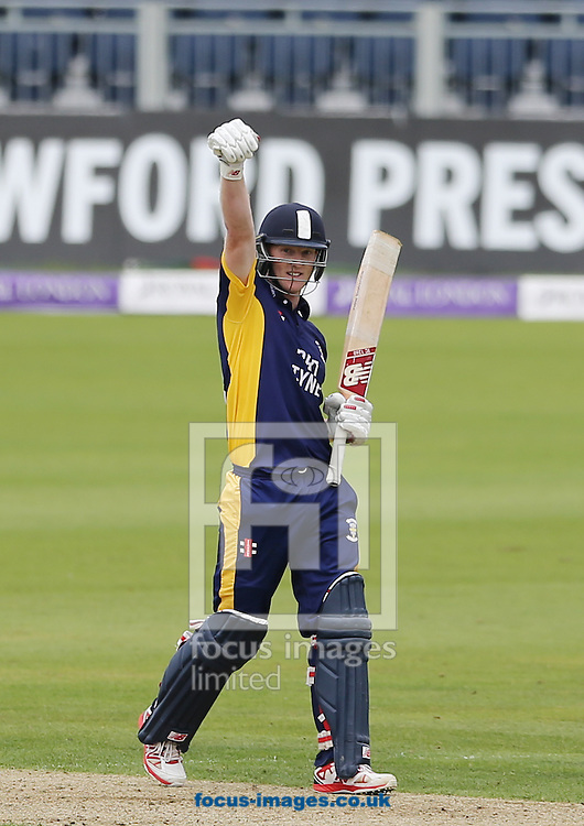 Ben Stokes of Durham County Cricket Club acknowledges the crowd after hitting 150 during the Royal London One Day Cup match at Emirates Durham ICG, Chester-le-Street<br /> Picture by Simon Moore/Focus Images Ltd 07807 671782<br /> 06/09/2014