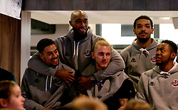 Roy Owen, Brandon Boggs, Jordan Nichols, Adam Weary and Panos Mayindombe of Bristol Flyers take part in the 2017/18 season launch event at Ashton Gate - Mandatory by-line: Robbie Stephenson/JMP - 11/09/2017 - BASKETBALL - Ashton Gate - Bristol, England - Bristol Flyers 2017/18 Season Launch