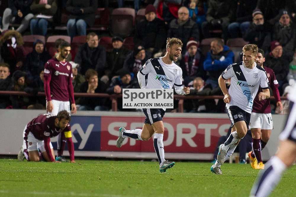Rory Loy of Dundee scores to make it 1-1 during the Ladbrokes Scottish Premiership match between Heart of Midlothian FC and Dundee FC at Tynecastle Stadium on November 21, 2015 in Edinburgh, Scotland. Photo by Jonathan Faulds/SportPix