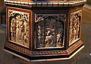 Casket.  Workshop of the Embriachi family, Venice, about 1400-1430 bone, wood and horn.  The main panels are carved with episodes from the story of the life of Paris of Troy; the upper row with Virtues.  Caskets like this were often made for marriages, to hold gifts for the bride.