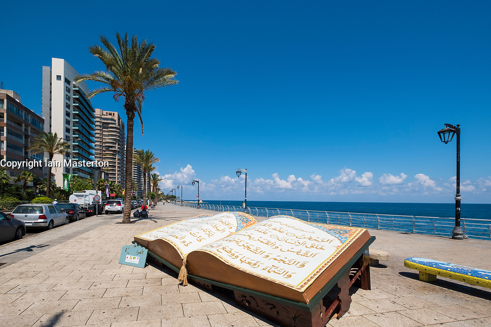 Large sculpture of The Koran on The Corniche in Beirut, Lebanon.