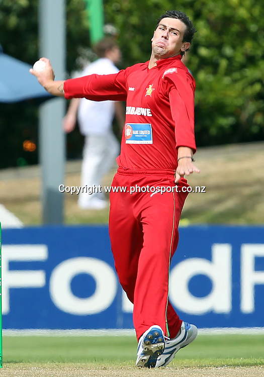 Keegan Meth in action for Zimbabwe.<br /> New Zealand v Zimbabwe, 1st ODI, 3 February 2012, University Oval, Dunedin, New Zealand.<br /> Photo: Rob Jefferies/PHOTOSPORT