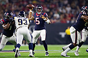 HOUSTON, TX - AUGUST 29:  Joe Webb III #5 of the Houston Texans throws a pass during a game against the Los Angeles Rams during week four of the preseason at NRG Stadium on August 29, 2019 in Houston, Texas. The Rams defeated the Texans 22-10.   (Photo by Wesley Hitt/Getty Images) *** Local Caption *** Joe Webb III