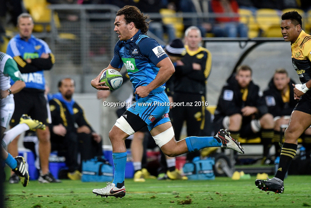 Blues' Kara Pryor runs in a try during the Hurricanes vs Blues Super Rugby  match at the Westpac Stadium in Wellington on Saturday the 2nd of July 2016. Copyright Photo by Marty Melville / www.Photosport.nz