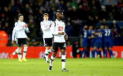 Abdoul Razzagui Camara of Derby County looks dejected as Leicester City celebrate scoring a goal - Mandatory by-line: Robbie Stephenson/JMP - 08/02/2017 - FOOTBALL - King Power Stadium - Leicester, England - Leicester City v Derby County - Emirates FA Cup fourth round replay