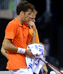 12-09-2014 NED: Davis Cup Nederland - Kroatie, Amsterdam<br /> Robin Haase trekt de stand weer gelijk door met 3-0 te winnen en Jan Siemerink
