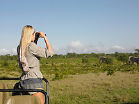 Young woman on safari standing in jeep looking through binoculars at elephants back view