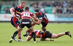 Sam Jeffries of Bristol Rugby bursts through the tackle from Tom Cowan-Dickie of Cornish Pirates and into Laurence May of Cornish Pirates - Mandatory by-line: Gary Day/JMP - 10/09/2017 - RUGBY - Mennaye Field - Penzance, England - Cornish Pirates v Bristol Rugby - Greene King IPA Championship