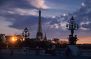 France. Paris. Pont Alexandre III bridge and the eiffel tower on Seine River